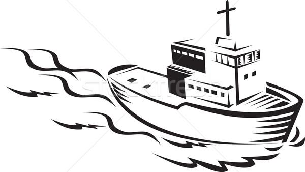 Commerciële vissersboot schip zee illustratie wolken Stockfoto © patrimonio