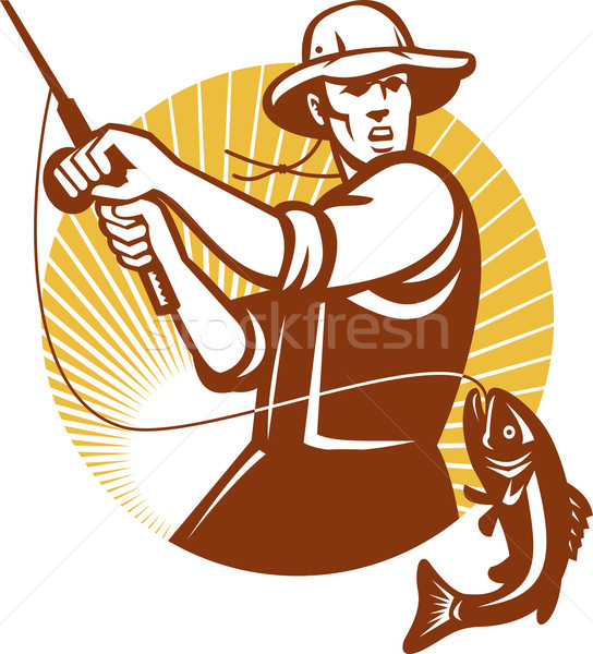 Fly Fisherman Fishing Retro Woodcut Stock photo © patrimonio