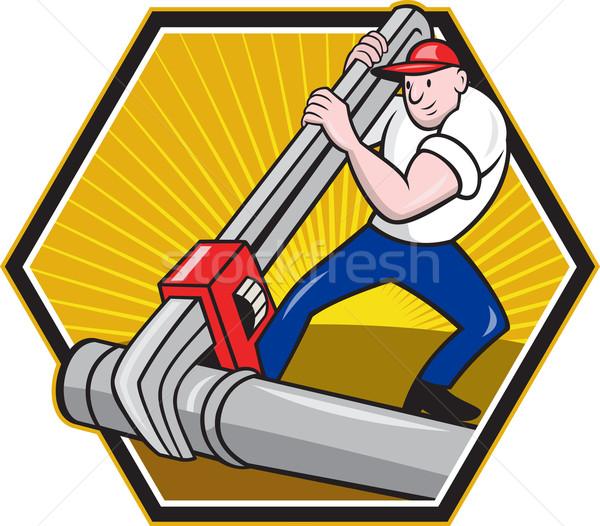 Encanador trabalhador desenho animado ilustração Foto stock © patrimonio