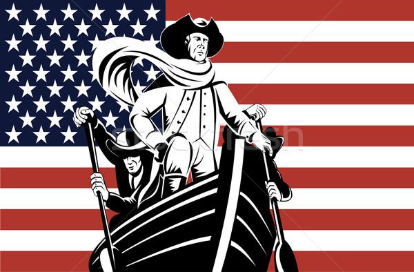 Amerikaanse revolutie soldaat algemeen vlag illustratie Stockfoto © patrimonio