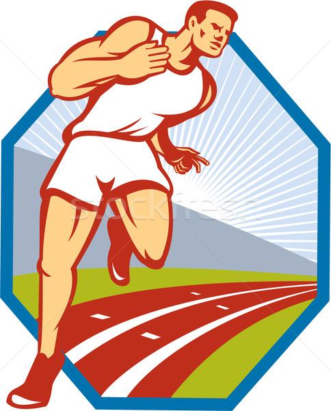 Maraton koşucu çalışma yarış pisti Retro örnek Stok fotoğraf © patrimonio