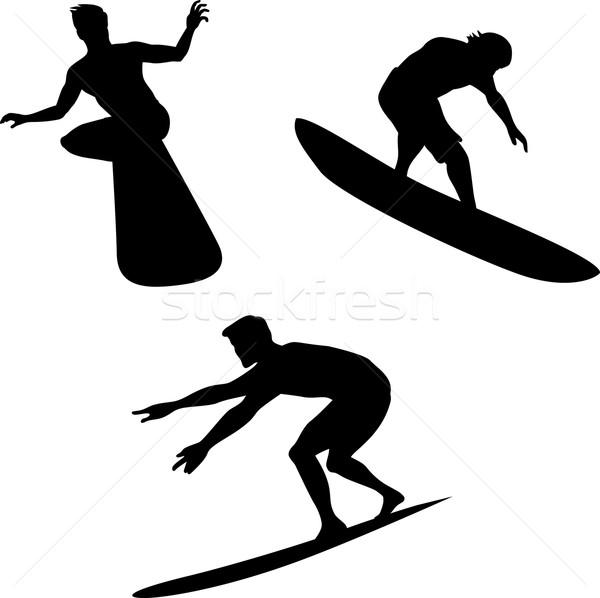 Szörfösök sziluettek illusztráció három különböző pozíciók Stock fotó © patrimonio