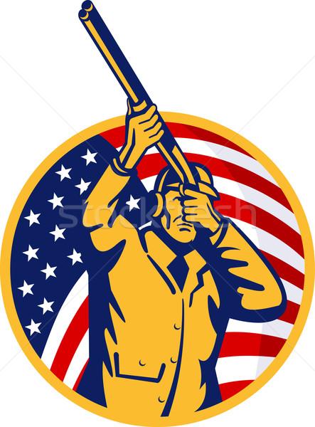 Jager geweer Amerikaanse vlag illustratie sterren Stockfoto © patrimonio