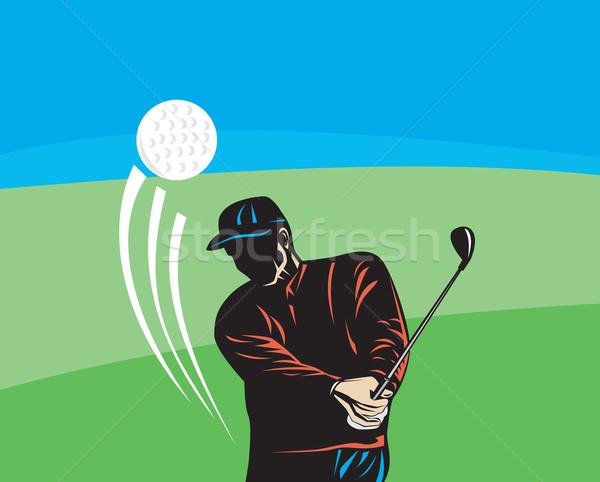 Golfer club retro illustratie spelen golf Stockfoto © patrimonio