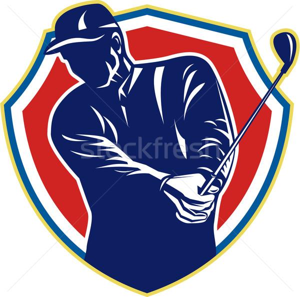 Golfer Swing Club Playing Golf Retro Stock photo © patrimonio