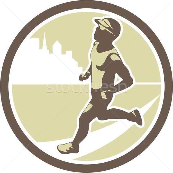 Triathlete Running Side Circle Retro Stock photo © patrimonio