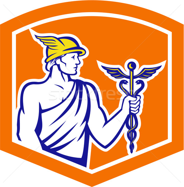 Mercury Holding Caduceus Staff Shield Retro Stock photo © patrimonio
