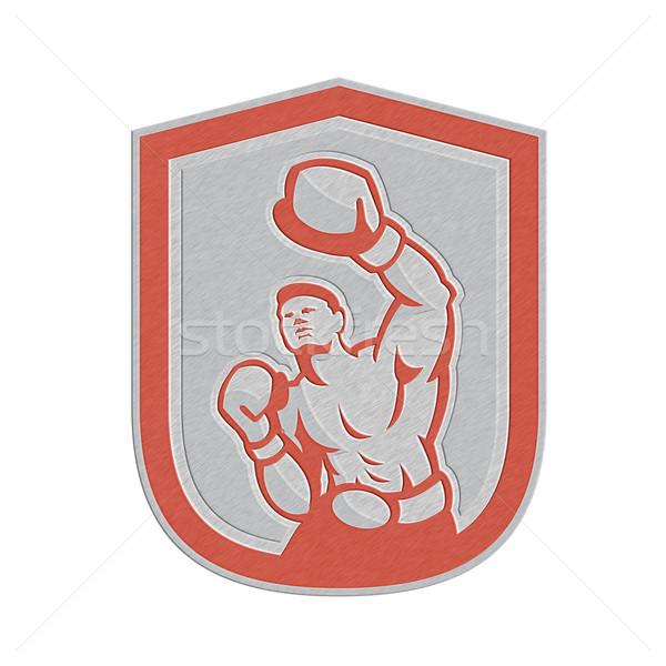 Metallic Boxer Boxing Punching Jabbing Circle Retro Stock photo © patrimonio
