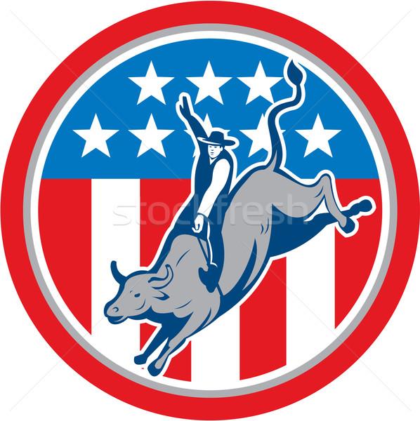 Amerikan rodeo boğa binicilik daire karikatür Stok fotoğraf © patrimonio