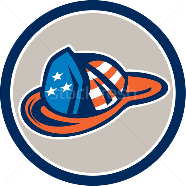 Fireman Hat Helmet USA Stars and Stripes Retro Stock photo © patrimonio