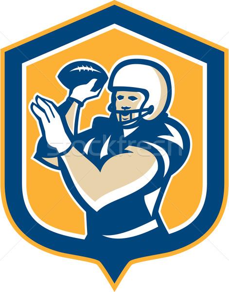 American Football QB Throwing Shield Retro Stock photo © patrimonio