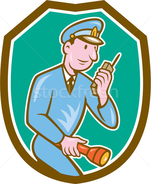 Rendőr zseblámpa rádió pajzs rajz illusztráció Stock fotó © patrimonio