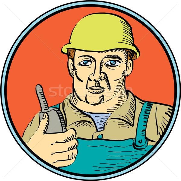 Builder Carpenter Holding Radio Phone Circle Retro Stock photo © patrimonio