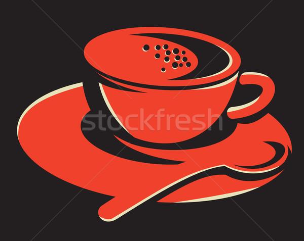Kávéscsésze buborékok kanál retro illusztráció teáskanál Stock fotó © patrimonio