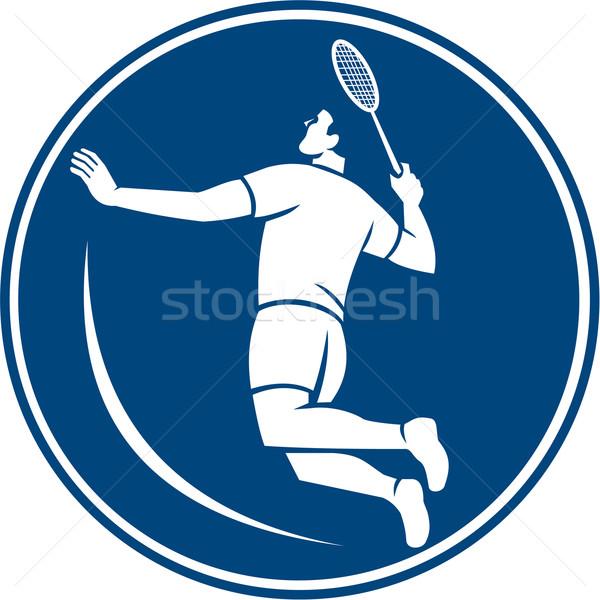 Badminton jogador saltar círculo ícone ilustração Foto stock © patrimonio