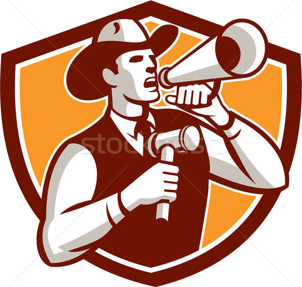 Cowboy Auctioneer Bullhorn Gavel Shield Stock photo © patrimonio