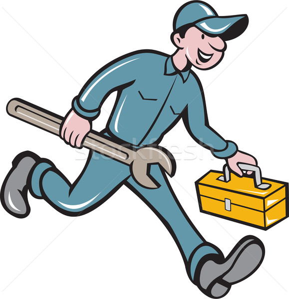 Mechanic Carrying Toolbox Spanner Isolated Cartoon Stock photo © patrimonio