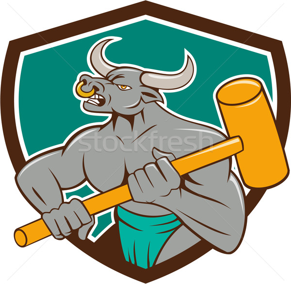 Minotaur Wielding Sledgehammer Shield Cartoon Stock photo © patrimonio