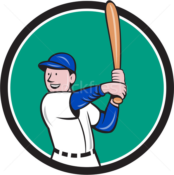Baseball Player Batting Stance Circle Cartoon Stock photo © patrimonio