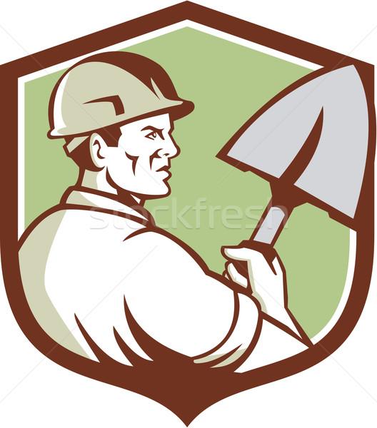 építőmunkás ásó címer retro illusztráció visel Stock fotó © patrimonio