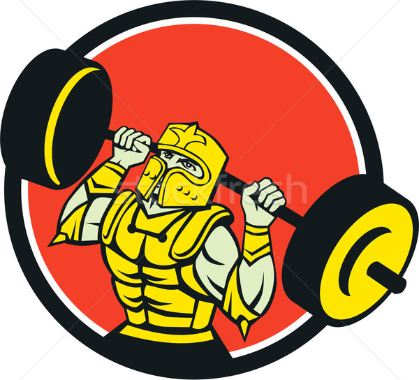 Knight Lifting Barbell Circle Retro Stock photo © patrimonio