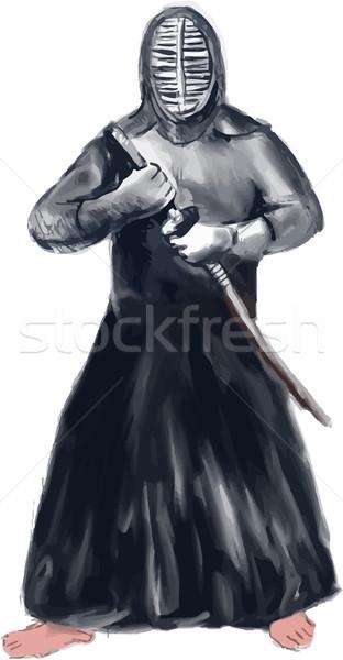 Kendōka Kendo Swordsman Watercolor Stock photo © patrimonio