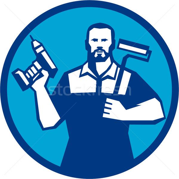 Bearded Handyman Cordless Drill Paintroller Circle Retro Stock photo © patrimonio