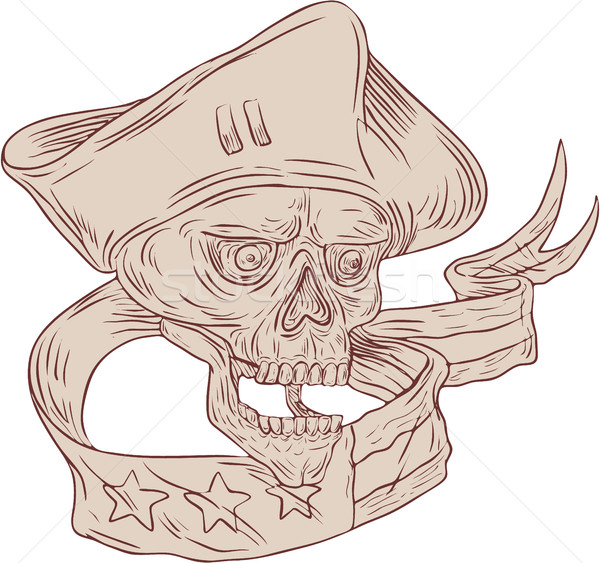 Czaszki patriota wstążka banderą rysunek szkic Zdjęcia stock © patrimonio
