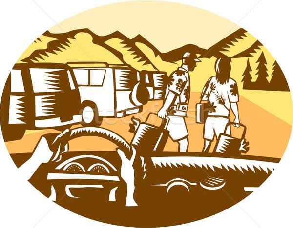 Ręce koła turystycznych górskich owalny ilustracja Zdjęcia stock © patrimonio
