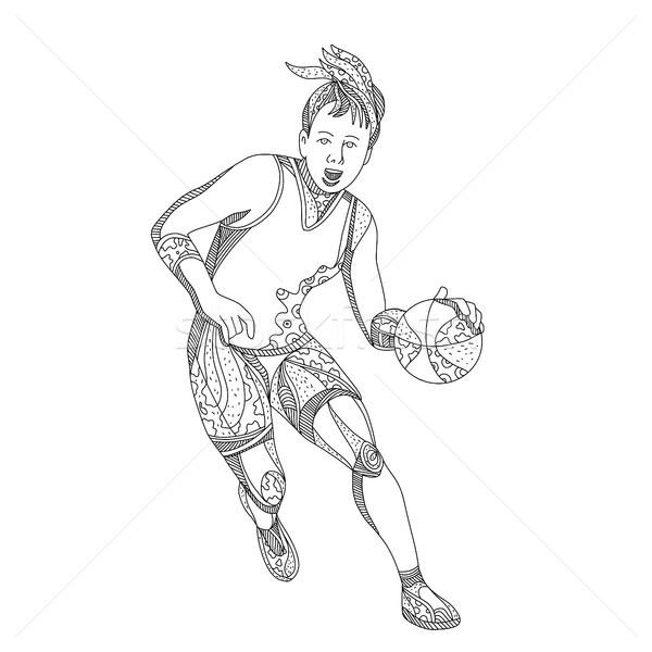 Vrouwelijke doodle kunst illustratie bal Stockfoto © patrimonio