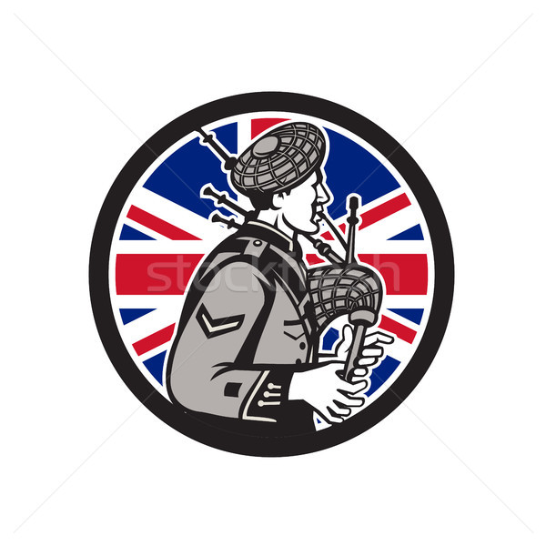 Britisch Flagge Symbol Retro-Stil Illustration Stock foto © patrimonio
