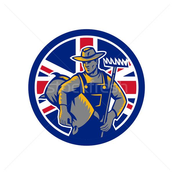Brits organisch landbouwer union jack vlag icon Stockfoto © patrimonio