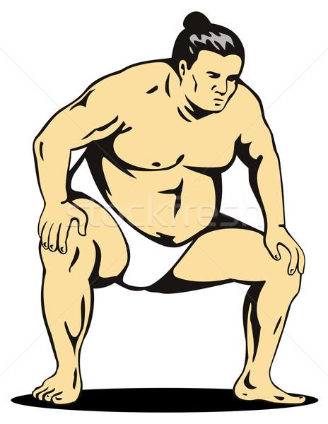 Japans sumo worstelaar illustratie geïsoleerd witte Stockfoto © patrimonio