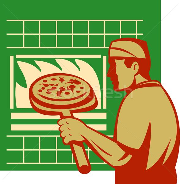 Pizza pie maker or baker holding baking pan oven Stock photo © patrimonio