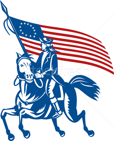 American revolutionary general riding horse Betsy Ross Flag Stock photo © patrimonio