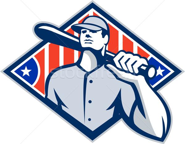 Foto stock: Beisebol · bat · ombro · retro · ilustração · americano