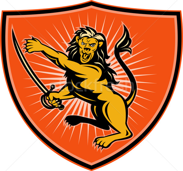 Lion with sword pointing and attacking with shield  Stock photo © patrimonio
