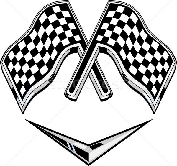 metallic racing checkered flag crossed Stock photo © patrimonio