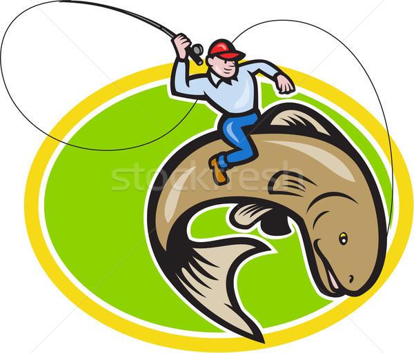 Fly Fisherman Riding Trout Fish Cartoon Stock photo © patrimonio