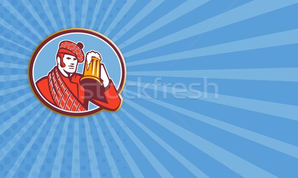 Scotsman Beer Drinker Mug Retro Stock photo © patrimonio