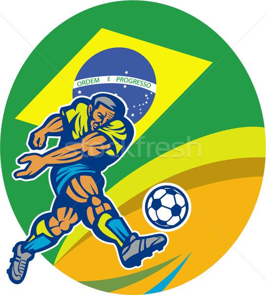 Бразилия Футбол футболист мяча ретро Сток-фото © patrimonio