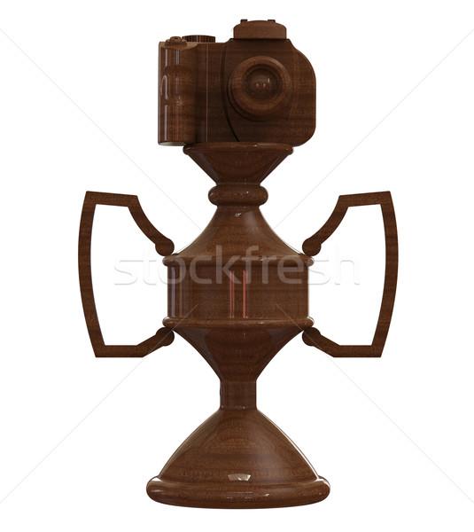 Dslr fotocamera trofeo Cup isolato bianco Foto d'archivio © patrimonio