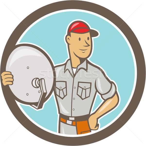 Cable TV Installer Guy Cartoon Stock photo © patrimonio
