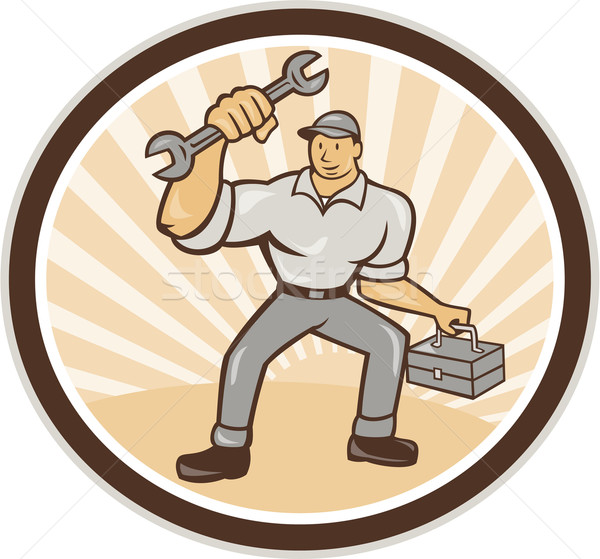 Mechanic Holding Spanner Wrench Toolbox Cartoon Stock photo © patrimonio