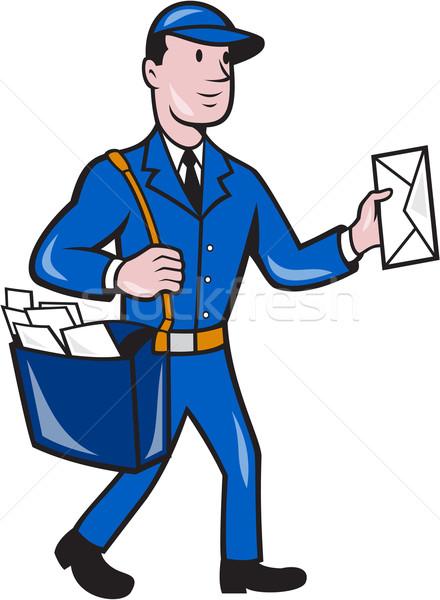 Postbode postbode levering werknemer geïsoleerd cartoon Stockfoto © patrimonio
