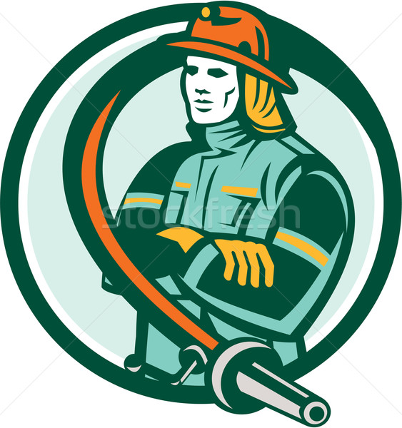 Fireman Firefighter Folding Arms Circle Retro Stock photo © patrimonio