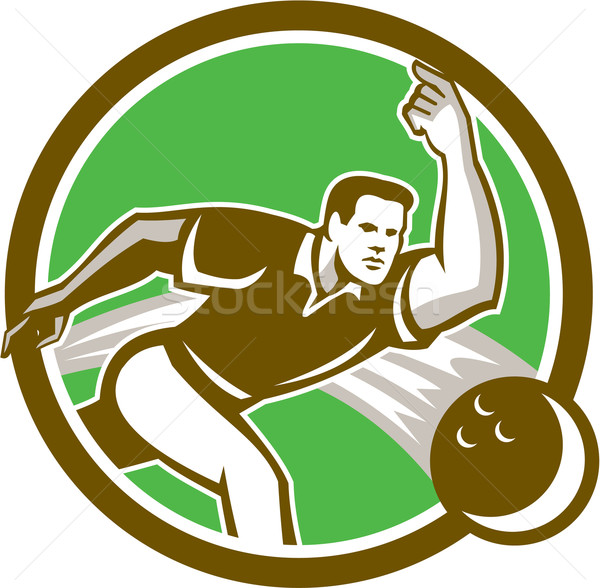 Bowler Throwing Bowling Ball Circle Retro Stock photo © patrimonio