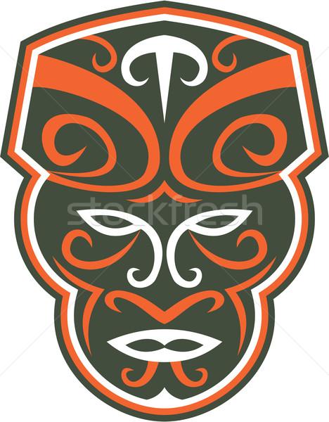 Maori Mask Face Front Retro Stock photo © patrimonio