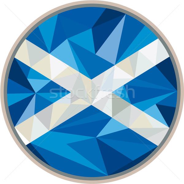 Шотландии флаг икона круга низкий многоугольник Сток-фото © patrimonio