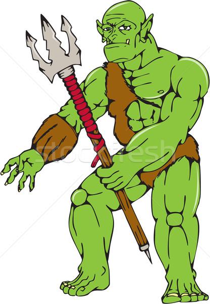 Orc Warrior Monster Trident Cartoon Stock photo © patrimonio